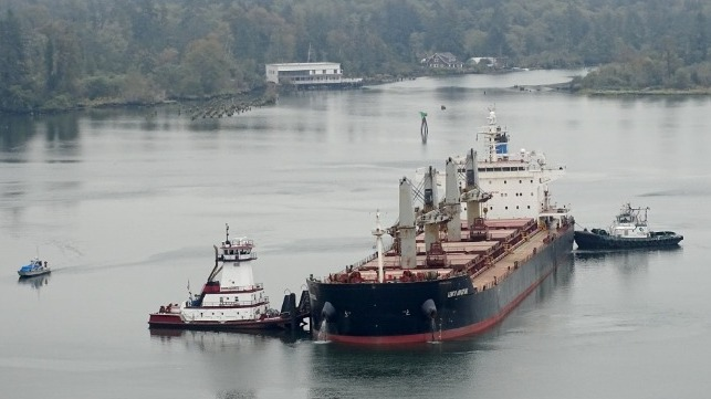 grounded bulk carrier container ship leak US Coast Guard