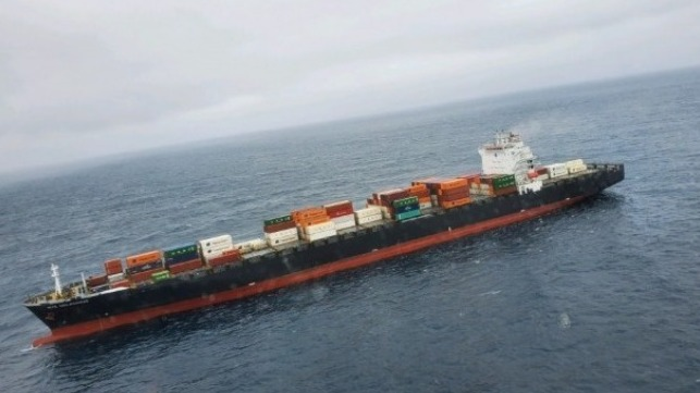 fire aboard a containership off California
