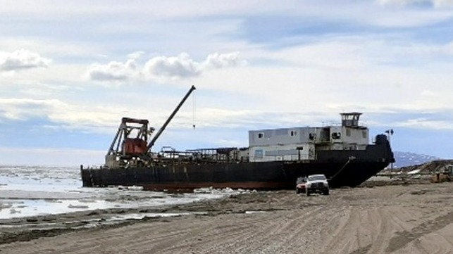 Two month operation to free a stranded ice-bound barge in Alaska