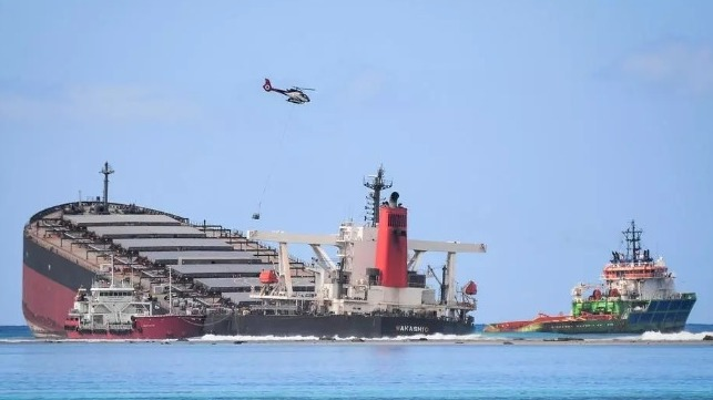 acquisitions in Mauritius over oil spill from grounded bulk carrier Wakashio