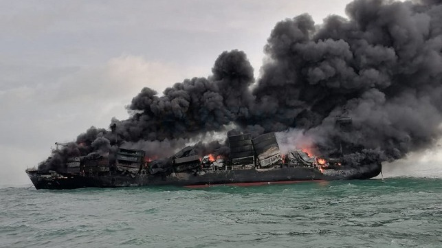 containership fire intensifies