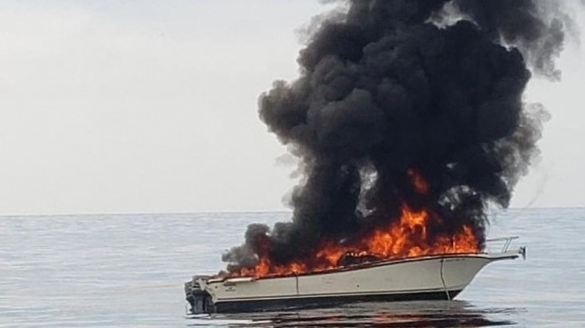 burning boat off channel islands