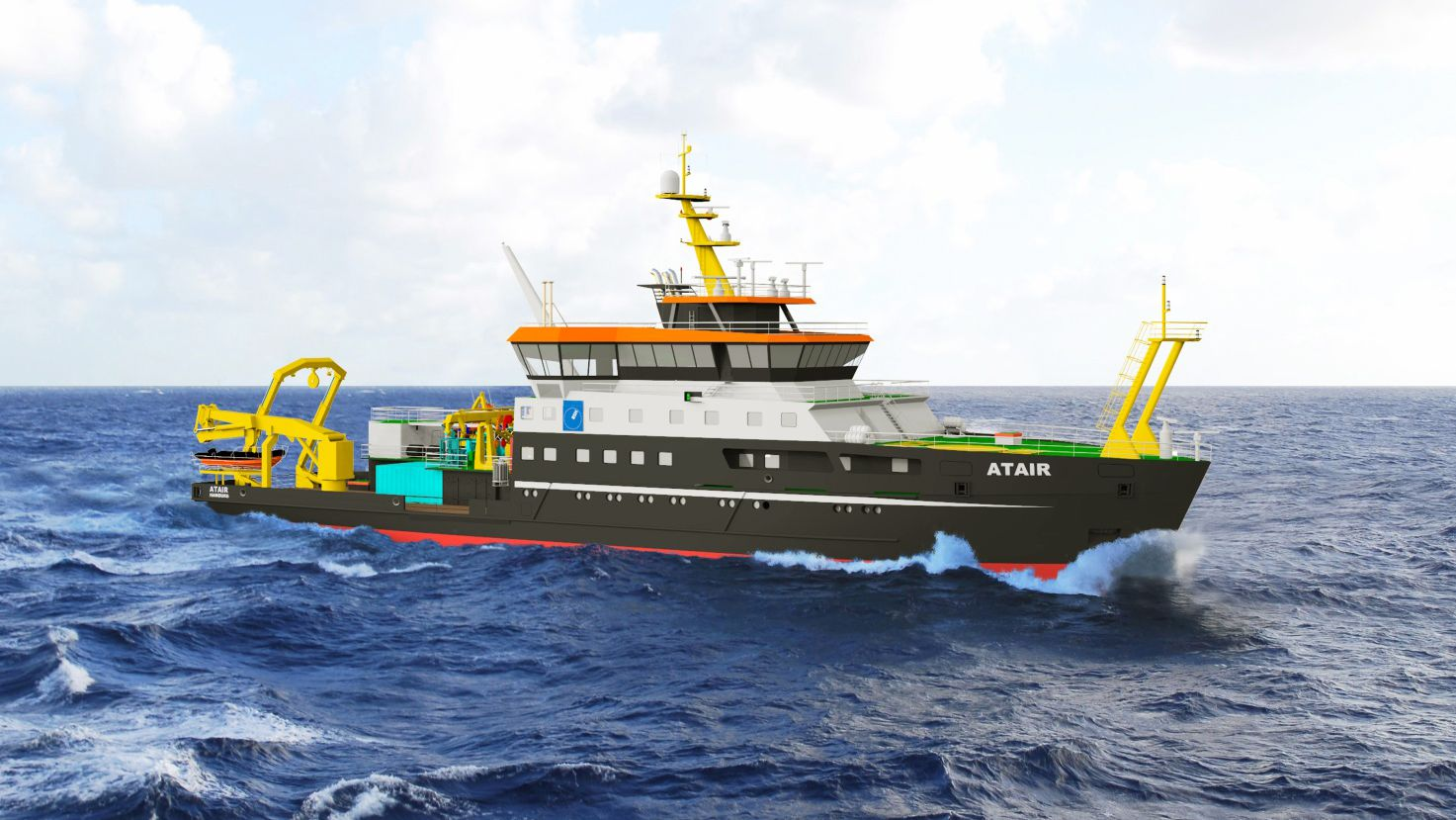 rendering of the Atair; first vessel in the BSH fleet with LNG technology