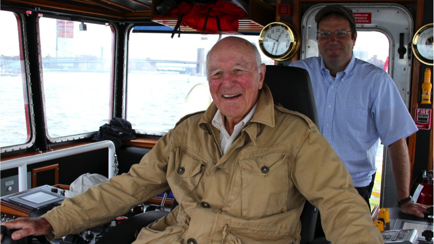 The tug's namesake at the controls. Steering the first Tier IV tug on the US East Coast.