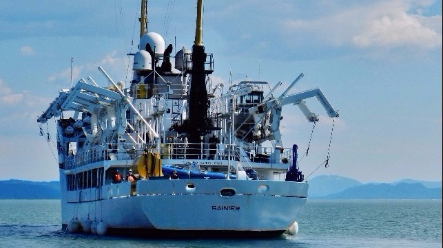 The NOAA ship Rainier, here seen in Alaska's Behm Canal, features davits from Vestdavit